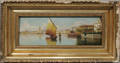 121156 CONTINENTAL OIL ON WOOD PANEL HARBOR WITH BOA