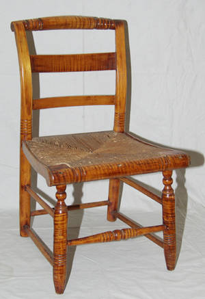 1093 AMERICAN MAPLE  RUSH SEAT SLIPPER CHAIR CIRCA 1