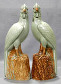 0073 CHINESE PORCELAIN FIGURINES OF PHOENIX BIRDS PAI