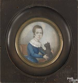 Watercolor on ivory miniature portrait of a young girl early 19th c