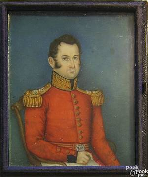 English watercolor on ivory miniature portrait of a gentleman 19th c