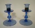 2151 FAVRILE HAND BLOWN BLUE IRIDESCENT GLASS CANDLEST