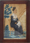 2137 WATERCOLOR AND GOUACHE OF SEATED LADY FACING RIGH