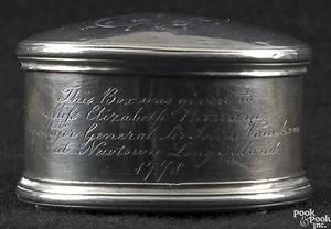 Silver nutmeg grater of New York interest ca 1778