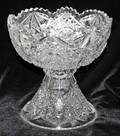 0088 CUT CRYSTAL TWO PIECE COMPOTE H 9 DIA 9