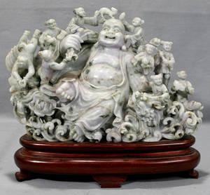 011212 CHINESE CARVED SERPENTINE BUDDHA WITH EIGHT IM