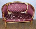 121213 LOUIS XVI STYLE GILT WOOD SETTEE H 35 12 L