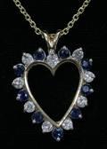 120098 DIAMOND SAPPHIRE HEART SHAPED PENDANT