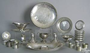 Group of misc sterling silver and silver plate to include napkin holders