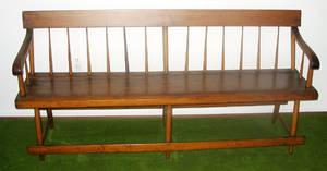 1166 OHIO PINE SPINDLE BACK DEACON BENCH CIRCA 1840