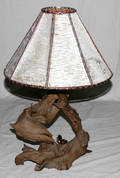 020236 RUSTIC ROOT LAMP WITH BIRCH  BENT TWIG SHADE