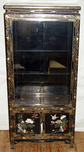 011248 ORIENTAL BLACK LACQUER AND INLAY DISPLAY CABINE