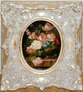 121249 OLD MASTER STYLE OIL ON BOARD FLORAL STILL LI
