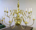 1234 BRASS TWOTIER 16LIGHT CHANDELIER H 37 DIA 36