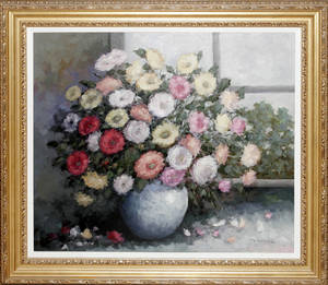 012135 VAN DER POEL OIL ON CANVAS 27 X 31 FLORAL