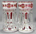 122142 CZECHOSLOVAKIAN CASED GLASS LUSTERS WITH ENAME