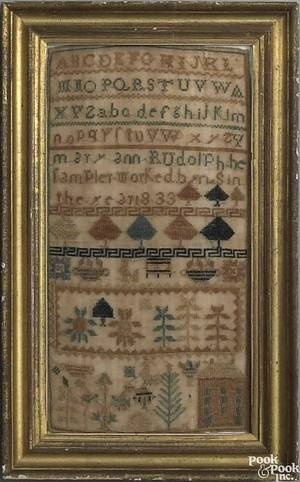 Pennsylvania silk on linen sampler dated 1833 wrought by Mary Ann Rudolph