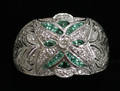 0211 14 KT WHITE GOLD DIAMOND AND EMERALD RING