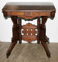 0192 AMERICAN EMPIRE WALNUT MARBLE TOP TABLE CARVED