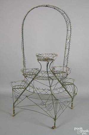 Victorian wire plant stand late 19th c