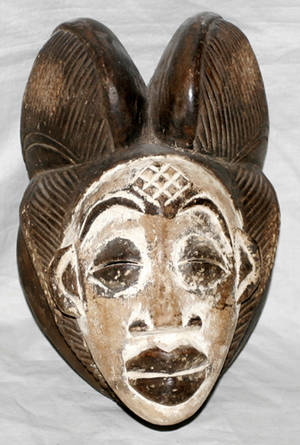 010205 AFRICAN PUNU CARVED WOOD POLYCHROME MASK H 10
