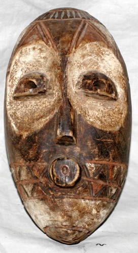010203 AFRICAN BAGA CARVED WOOD POLYCHROME MASK H 9