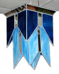 122220 ART DECO STYLE BLUE STAINED GLASS HANGING FIXTU
