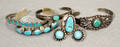 121345 NAVAJO CUFF BRACELETS FOUR NAVAJO TURQUOISE R