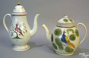 Pearlware coffee pot early 19th c