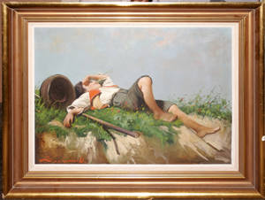2280 CONTEMPORARY REPRESENTATIONAL OIL ON CANVAS BOY