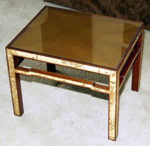 0240 BAMBOOINLAID COFFEE TABLE H 16 W 17 L 21