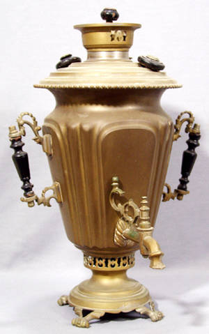 012199 RUSSIAN BRASS SAMOVAR 19TH CENTURY H 19 12