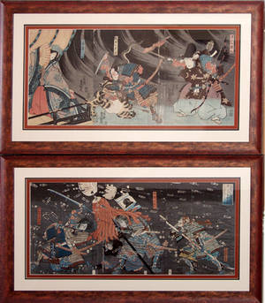 012192 JAPANESE TRIPTYCH WOODBLOCK PRINTS CIRCA 1850