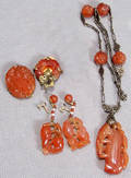 011389 AMBER AND SILVER 16 NECKLACE ALSO AMBER DROP E