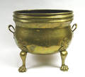 122255 BRASS OVOID FOOTED PLANTER KETTLE  HANDLED SA