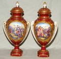 122223 CHELSEA HAND PAINTED PORCELAIN COVERED URNS PA