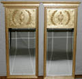 121391 EMPIRE STYLE PAINTED WOOD MIRRORS PAIR 46 12