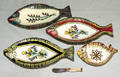 1332 HENRIOT QUIMPER FRENCH POTTERY FISH DISHES FOUR