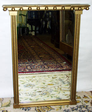 020369 BAKER FEDERAL STYLE GILT WOOD MIRROR C1930 H