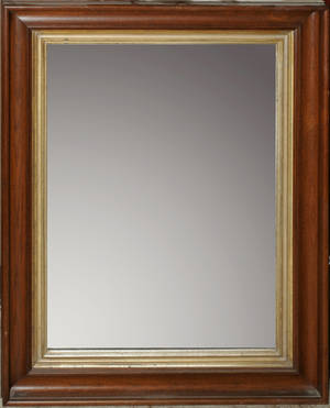 011404 VICTORIAN WALNUT FRAMED MIRROR H 34 W 26