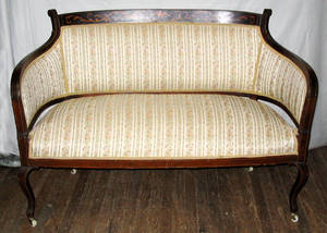 011393 MAHOGANY SETTEE WITH SATINWOOD INLAY CIRCA 190