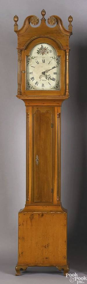 Pennsylvania poplar tall case clock ca 1800