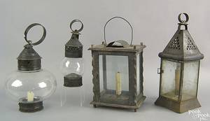 Four hanging lanterns 19th c