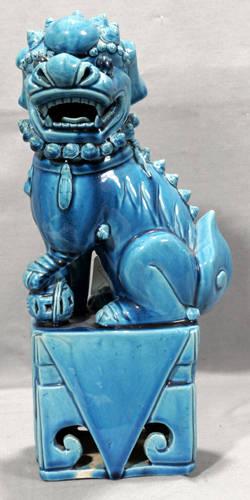 021443 CHINESE PORCELAIN GLAZED TURQUOISE FOO DOG H 1