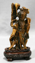 120352 CHINESE CARVED TIGER EYE FIGURE OF QUAN YIN WI