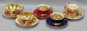 120330 AYNSLEY CO ENGLAND BONE CHINA CUPS WITH SAUC