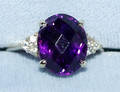 120316 14 KT YELLOW GOLD DIAMOND AND AMETHYST RING