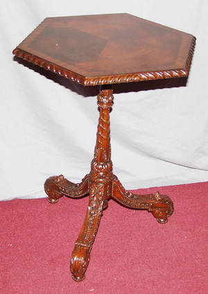 22239 18TH C STYLE MAHOGANY PEDESTAL TABLE H 26 12