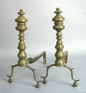 Pair of Federal brass andirons ca 1835
