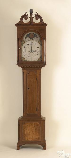 Fine Pennsylvania Chippendale cherry tall case clock ca 1795